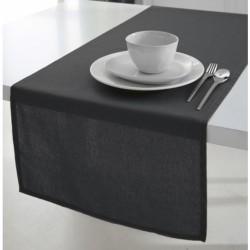 Décoration table fete Chemin de table en coton tissu Noir 50x150cm neuf