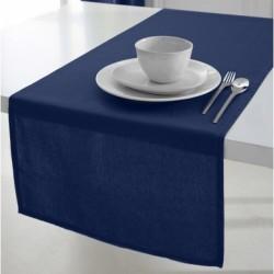 Décoration table fete Chemin de table en coton tissu Bleu Marine 50x150cm neuf