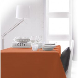Nappe rectangle orange 150x250 anti taches 100% polyester décoration de table neuve