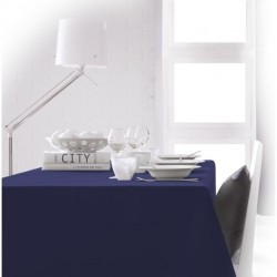 Nappe rectangle bleu marine 150x250 anti taches 100% polyester décoration de table neuve