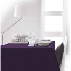 Nappe rectangle violet 150x250 anti taches 100% polyester décoration de table neuve