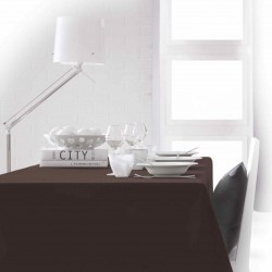 Nappe rectangle marron chocolat 150x250 anti taches 100% polyester décoration de table neuve