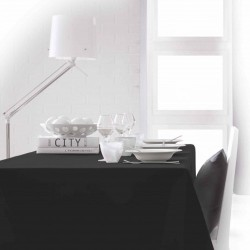 Nappe rectangle noire 150x250 anti taches 100% polyester décoration de table neuve
