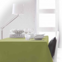 Nappe rectangle vert anis 150x250 anti taches 100% polyester décoration de table neuve
