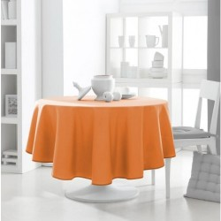 Décoration table fete Nappe ronde Orange 180cm anti tache 100% polyester neuve