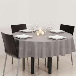 Décoration table Nappe ronde gris clair 180cm anti tache 100% polyester neuve