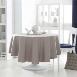 Décoration table fete Nappe ronde Beige 180cm anti tache 100% polyester neuve