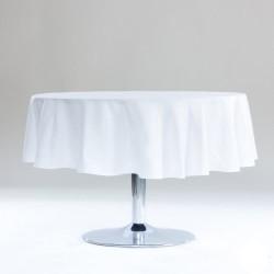 Décoration table fete Nappe ronde Blanche 180cm anti tache 100% polyester neuve