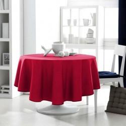 Décoration table fete Nappe ronde rouge 180cm anti tache 100% polyester neuve