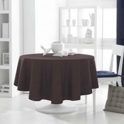 Décoration table fete Nappe ronde marron Chocolat 180cm anti tache 100% polyester neuve