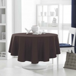 Nappe ronde marron chocolat 180cm anti tache 100% polyester décoration de table neuve