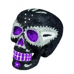 Décoration tête de mort noire scintillante Dia de los muertos Halloween neuf
