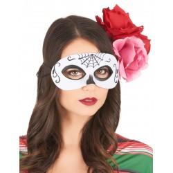 Loup Dia de los muertos noir & blanc adulte Halloween FETE CARNAVAL neuf