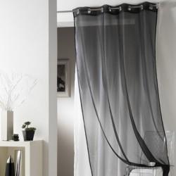 Rideau voilage Noir uni à oeillets 135 x 240 cm déco maison neuf