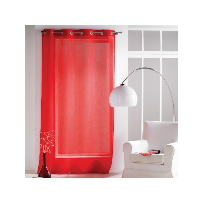Rideau voilage Rouge uni à oeillets 135 x 240 cm déco maison neuf ...