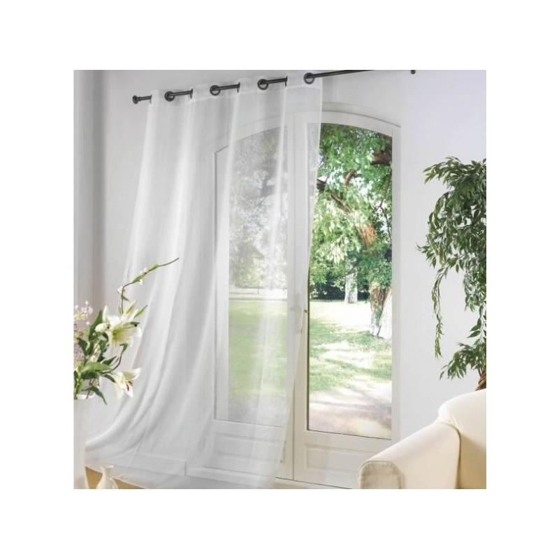 Rideau voilage Blanc uni à oeillets 135 x 240 cm déco maison neuf ...
