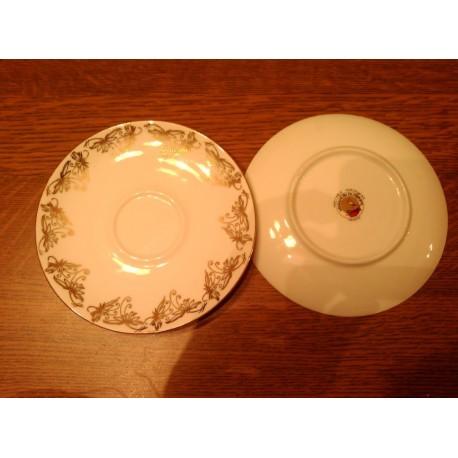 lot de 2 sous tasses coupelles doré ateliers de la cigogne porcelaine tbe