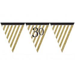 Guirlande à fanions noir / or anniversaire 30 ans 3,7m décoration de salle maison fête neuve