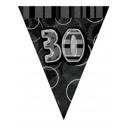 Guirlande fanions 30 ans gris décoration de salle maison anniversaire fête neuve