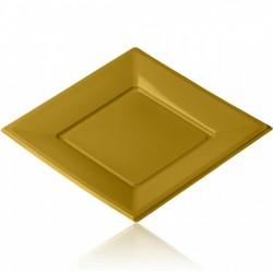 Lot de 12 Assiettes plastique carrées or 21.5 cm jetable fete mariage neuve