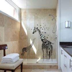 Décoration murale stickers adhésif girafes art déco 115 x 130 cm neuf
