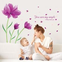 Décoration murale stickers adhésif géant belles fleurs pourpres 150x205 cm neuf