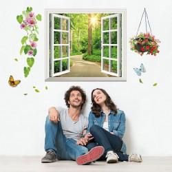 Décoration murale stickers adhésif 3D fausse fenêtre vue forestière fleurs 60 x 90 cm neuf