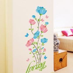 Décoration murale stickers adhésif bouquet romance bleu et rose 74 x 150cm neuf