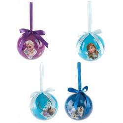 Lot de 4 Boules La reine des neiges Frozen 7,5cm DÉCORATION SAPIN NOEL neuf