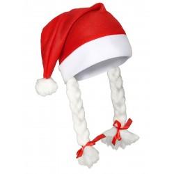 Bonnet de Mère-Noël pompons avec tresses adulte DEGUISEMENT NOEL NEUF