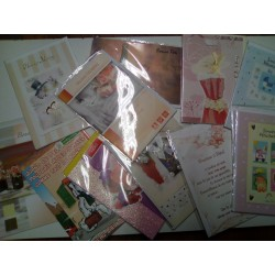 GROS LOT REVENDEUR PALETTE 100 cartes + env anniversaire mariage naissance baptême retraite fête nouvel an noel neuf