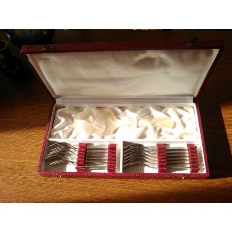 ancien coffret service 13 pieces service a gateaux fourchettes + pelle guy degrenne