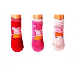 Lot de 3 Paires de chaussettes fille Enfant Peppa Pig taille 31-34 couleurs assorties neuve idée cadeau