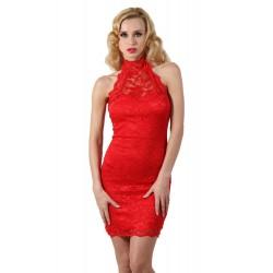 Ensemble sexy femme Robe dentelle rouge col montant S/M OU L/XL cadeau st valentin anniversaire neuve