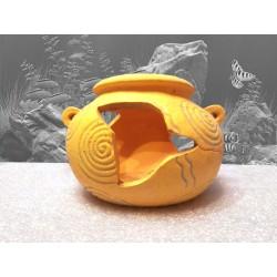 Décoration pour aquarium : vase décoratif d'aquarium jaune