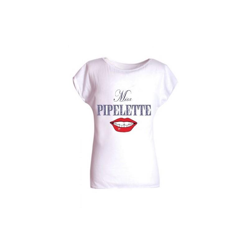t shirt blanc pour fille manches courte miss pipelette 4. Black Bedroom Furniture Sets. Home Design Ideas