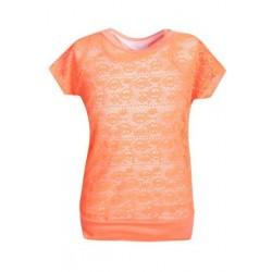 T shirt Top en filet + debardeur ORANGE NEON du 4 au 14 ans enfant idée cadeau anniversaire neuf
