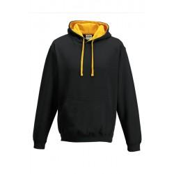 SWEATSHIRT CAPUCHE CONTRASTÉE NOIRE JAUNE vêtement pull Taille S à XL neuf