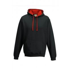 SWEATSHIRT CAPUCHE CONTRASTÉE NOIRE ROUGE vêtement pull Taille S à XL neuf