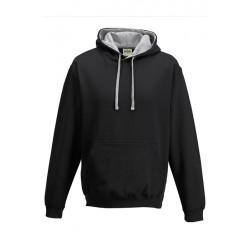 SWEATSHIRT CAPUCHE CONTRASTÉE NOIRE GRIS vêtement pull Taille S à XL neuf