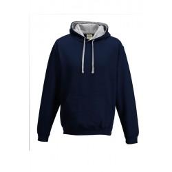 SWEATSHIRT CAPUCHE CONTRASTÉE MARINE GRIS vêtement pull Taille S à XXL neuf