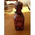 ancienne bouteille liqueur deco contour cuir relief avec bouchon