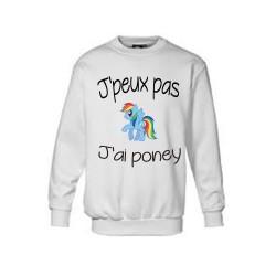 Sweatshirts - J'peux pas j'ai poney blanc du 4 au 14 ans vêtement enfant idée cadeau anniversaire neuf