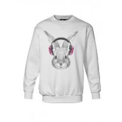 Sweatshirt enfant mixte imprimé - LAPIN FASHION blanc du 3/4 au 12/13 ans idée cadeau anniversaire noel neuf