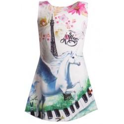 Robe pour fille manches courtes Licorne + Piano du 4 au 14 ans vêtement enfant neuve