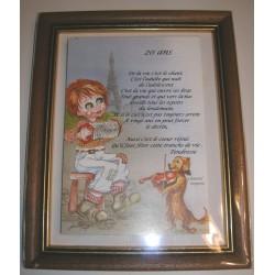 Déco sur faïence poème citation 20 ans + encadrement idée cadeau anniversaire fête déco neuve emballé