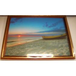 Cadre sous verre décoration plage bateau mer idée cadeau original anniversaire emballé neuf