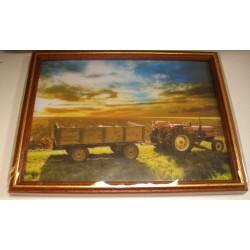 Cadre sous verre décoration tracteur ferme champs idée cadeau original anniversaire emballé neuf