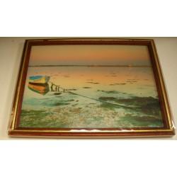 Cadre sous verre décoration mer bateau coucher soleil plage idée cadeau original anniversaire emballé neuf