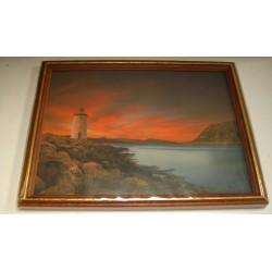 Cadre sous verre décoration mer phare coucher soleil plage idée cadeau original anniversaire emballé neuf